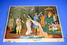 Vintage Lithograp Print of Draupadi is being stripped off her modesty in public