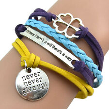 Inspiring Never Give Up Motto Multilayer Bangle Leather Clover Charms Bracelet