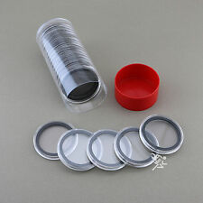 1 Capsule Tube & 20 40mm Black Ring Air-Tite Coin Holders for Silver Eagles