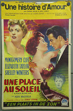 KMP 260d A PLACE IN THE SUN ELIZABETH TAYLOR MONTGOMERY CLIFT ORIG BELG POSTER