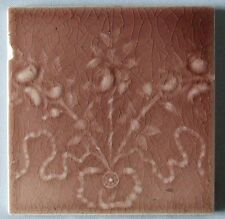 Antique Ceramic Tile Rose Flowers & Ribbons Victorian Majolica Fireplace Trent