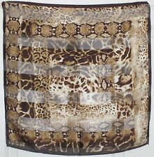 "TERRIART Brown, Khaki, Ivory Animal Print SILK 20"" Square Scarf-Vintage - LANDAU"