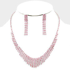 Pink jewellery set diamante rhinestone sparkly prom party bridal necklace 0204