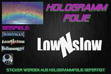 Low n Slow Hologramm Holo JDM Sticker Aufkleber DOMO Chrom Silber Rainbow