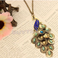 Fashion Bronze Style Peacock Blue&Green Crystal Chain Pendant Necklace