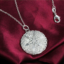 3D Filigree Hollow Round 925 Silver Photo Picture Charms locket Necklace Jewelry
