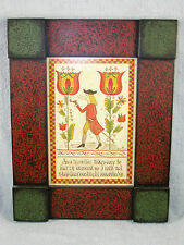 Lisa T. Short Hand Painted COLONIAL MAN & TULIPS Folk Art Fraktur -Painted Frame
