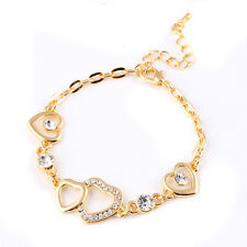 Fashion18K Gold Plated Rhinestone Heart Bracelets Bangle HQ