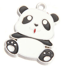 10pcs Black&White Enamel Rhodium Plated Alloy Cute Panda Animal Charms Pendant D