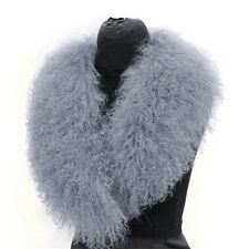 Women's Large Real Mongolian Fur Collar Real Lamb Fur Gray 90CM Shawls Scarves