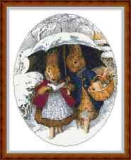 """'Mr AND MRS RABBIT IN THE SNOW' Cross Stitch Chart (9""""x11½"""") Christmas/Xmas NEW"""