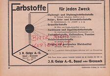BASEL-GRENZNACH, Werbung 1933, J. R. Geigy Farbstoffe chemische Industrie