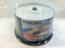 50 Philips Logo Blank DVD+R DVDR Dual Double Layer DL Disc Media 8.5GB Cake Box