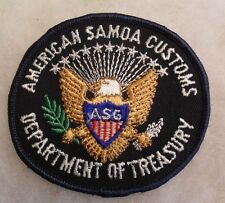 """AMERICAN SAMOA CUSTOMS DEPT OF TREASURY"" EMB ON BLACK TWILL PLASTIC BACK ME"