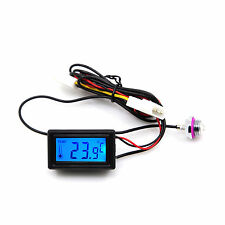 Blue LED Digital Temperature Meter With G1/4 Thread Water Stopper Sensor DC 12V