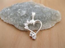 925 Sterling Silver - Heart Shaped Pendant with 5 x CZ Round Stud - New
