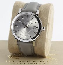 New 100% Auth Burberry BU9036 Women's Swiss Grey Leather Strap 38mm Watch