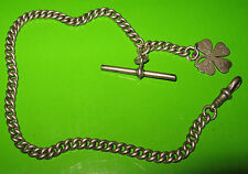 STERLING SILVER FULLY HALLMARKED ALBERT WATCH CHAIN WITH SHAMROCK FOB HM HB 1900