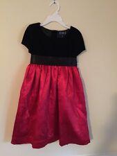 Girls Chaps Red Satin Black velvet Christmas Holiday Dress Size 6 winter