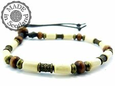 SURFER BEADED BRACELET WITH WOOD & TIBETAN SILVER WRIST WRAP WRISTBAND CUFF