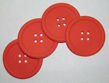 1 Set 4pc Orange BUTTON COASTERS Soft Rubber Beverage Coffee Holders NEW