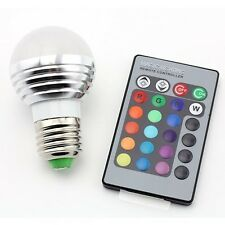 RGB LED Bulb Light 3W E27 Dimmable Color Changing with Remote Control for Home
