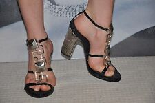 """VICINI"" STRAPPY Gladiator SANDALS /SHOES METALLIC DECO& SILVER METALLIC HEELS"