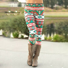 Womens Winter Warm Xmas Snowflake&Reindeer Nordic Stretch Knitted Leggings Pants