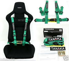 1 TANAKA UNIVERSAL GREEN 4 POINT BUCKLE RACING SEAT BELT HARNESS 2""