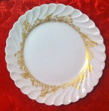 """3 Haviland Limoges Ladore Gold Floral 6 3/8"""" B & B Plates with Scallop Torse"""