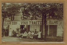 Carte Photo vintage card RPPC restaurant traiteur vins billard métier bt009