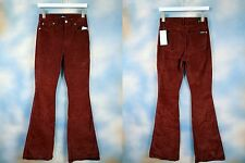 NEW $189 7 SEVEN for ALL MANKIND high waist bordeaux corduroy flare jeans SZ: 32