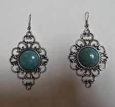 LARGE FILIGREE AND FAUX TURQUOISE DROP EARRINGS DARK SILVER PLATED with HOOK