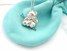 Tiffany & Co RARE Silver Teddy Bear Ribbon Bow Necklace Pendant Chain Excellent