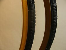 "VINTAGE TYRE 26 X 1 3/8""  BLOCK TREAD GUM WALL (pair)"