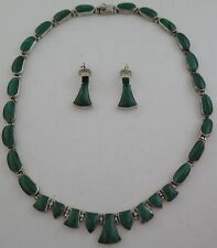 Heavy Quality .950 Sterling Silver & Malachite 85 Gram Necklace & Earrings Set