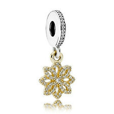 925 sterling silver gold snowflake Lace Cubic Zirconia dangle Charm fit bracelet