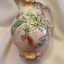 Chelsea China Large Pitcher/Ewer - Green Transferware, Gold Accents - Antique