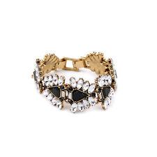 Bracelet Doré Art Deco Triangle Noir Cristal Mariage Retro Original CT7