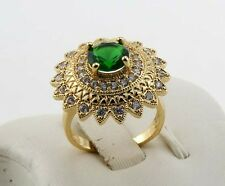 New Jewelry Natural 1.39ct Emerald 14k Solid Yellow Gold Ring Size 8