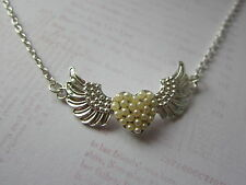 """Winged Love Heart with Pearl Detail 18"""" Silver Plated Necklace New Wife Gift"""
