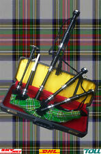 Albana Scottish Highland Bagpipe Irish Tartan Silver Mount Number Lock Hard Case