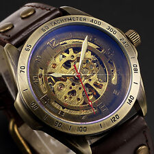 Stainless Bronze Colour Case Automatic Mechanical Mens Skeleton Leather Watch