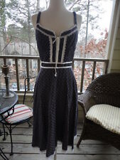 VINTAGE GUNNE SAX by Jessica Purple Floral Polka Dot Rockabilly Corset Dress XS