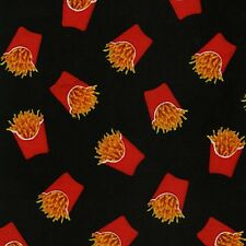 Fabric Fast Food French Fries to Go on Black Cotton 1 Yard