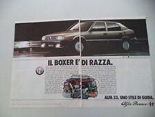 advertising Pubblicità 1985 ALFA ROMEO 33 QUADRIFOGLIO ORO