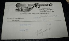 1916 C.J. HOIGAARD Co. Minneapolis MN Invoice Tents +