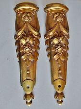 Ancienne paire de chutes -ornements pieds de meuble/horloge- bronze doré