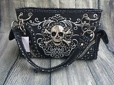 Skull Shoulder Bag Purse Rhinestone Bling Metal Stud NWT Conceal Carry Pocket