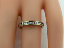 Solid 18k White Gold Round .12 CTW Diamond Channel 3mm Wedding Band Ring Sz 5.75